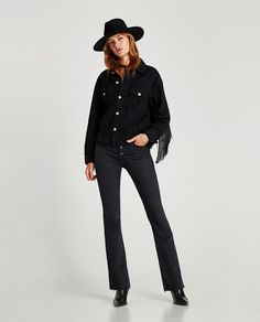 ZARA - WOMAN - DISTRESSED FABRIC JACKET WITH FRINGE