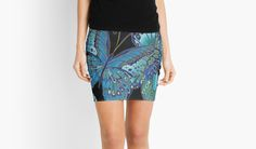 Teal and Black Butterfly Pattern