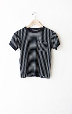 - Description Details: Super soft knit striped ringer tee in black/white with…