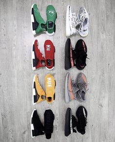 """Adidas NMD x Pharrell Williams """"Human Race"""" on left & Yeezy Boost 350 on right. Dope Fashion, Sport Fashion, Fitness Fashion, Sneakers Fashion, Sneaker Art, Sneaker Heads, Adidas Human Race, Boost Shoes, Adidas Boost"""