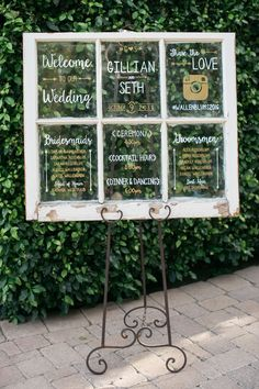 Wedding signage inspiration, shabby chic white window, schedule of events, wedding party names, wedding hashtag, learn more on borrowedandblue.com // Leo Cabal Photography