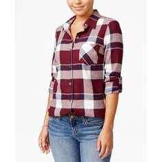 Polly & Esther Juniors' Plaid Flannel Shirt ($20) ❤ liked on Polyvore featuring tops, panel shirts, plaid top, roll tab shirt, shirt tops and tartan shirt