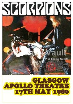 "Scorpions Concert Poster Glasgow Apollo Theatre 1980 A3 Reproduction ""NEW"""