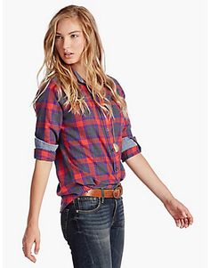 Menswear-inspired plaid shirt crafted from 100% cotton. Features a button-front closure, long sleeves, single front pocket, shirttail hem and contrast chambray lining.<br/><br/>• 29.5 inches long<br/>• 32 inch sleeve length (from center back)