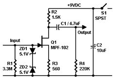 Schematic: High-impedance          preamplifier with MPF102 JFET. Easy to build. Battery-powered. Radio Shack stocks most parts.