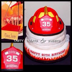 60th surprise birthday. 35 years service as a fire fighter. #fireman cake