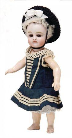 doll with bisque head, 16 cm, socket head, brown sleepy