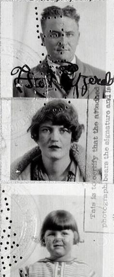 Passport photos  - F. Scott, Zelda, and Scottie Fitzgerald.