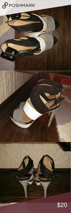 Zara heels Grey, black, white straps.  Three Inch heels.  Fairly good condition. Zara Shoes Heels