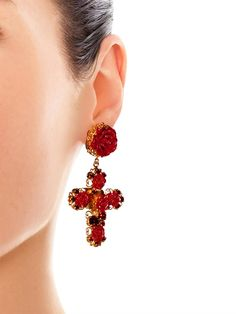 Dolce & Gabbana Crystal and rose embellished earrings