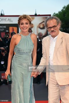 Giuseppe Gaudino and Valeria Golino attend a premiere for 'Per Amor Vostro' during the 72nd Venice Film Festival at Palazzo del Casino on September 11, 2015 in Venice, Italy.