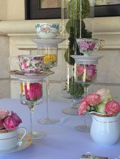 Bridal shower tea party theme food alice in wonderland ideas Bridal Shower Tea, Tea Party Bridal Shower, Shower Baby, Diy Shower, Garden Party Decorations, Table Decorations, Garden Parties, Centerpiece Ideas, Vase Ideas