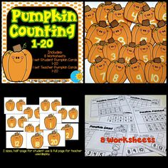 """Have fun reviewing Numbers and Counting with these adorable pumpkins and worksheets. There are 2 sets of pumpkins:  1 set of Student Pumpkins 1-20, size approximately 5""""H X 4""""W 1 set of Teacher Pumpkins 1-20, size approximately 7""""h X 5.5""""W  Also included are 8 Worksheets"""