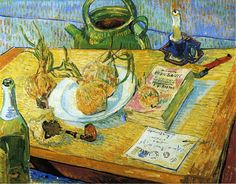 Vincent van Gogh. Still Life: Drawing Board, Pipe, Onions and Sealing-Wax. Arles: January 1889