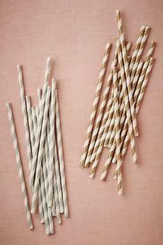 Metallic Swirl Straws (25 for $6) BHLDN-gold