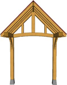 2 POST PORCHES — TIMBER FRAME PORCHES Awning Over Door, Porch Awning, Porch Roof, Door Overhang, House Front Porch, Front Porch Design, Front Deck, Patio Deck Designs, Carport Designs