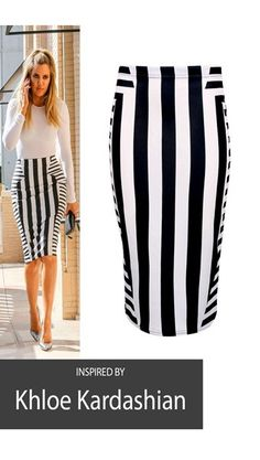 MIXED STRIPED PENCIL SKIRT
