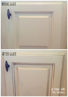 We're going with a dark floor so want to lighten cabinets but no white. Love this look! Glazed Kitchen Cabinets-Before-After detail