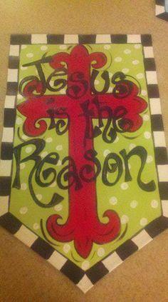 Jesus is the Reason Door Banner. $40.00, via Etsy.