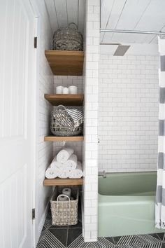 These Bathroom Storage Solutions Are Serious Game-Changers 2019 Create A Skinny Alcove for small bathroom storage The post These Bathroom Storage Solutions Are Serious Game-Changers 2019 appeared first on Bathroom Diy. Bathroom Storage Solutions, Small Bathroom Storage, Bathroom Closet, Upstairs Bathrooms, Bathroom Renos, Bathroom Storage Shelves, Bathroom Cabinets, Bathroom Storage Furniture, Neutral Bathroom