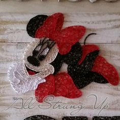 Minnie Mouse  string art. Check us out on Facebook at All Strung Up. https://www.facebook.com/pages/All-Strung-Up/915873695199667