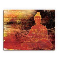 Rust Lotus Buddha On Brown Wall Art Print Wood By And Photo Decor