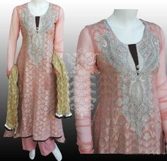 Such kind of dresses suit the ladies a lot for party time occasion.The traditional embroidery dresses are of the most pretty features of Pakistani Dress Designs. Latest Pakistani Dresses, Pakistani Dress Design, Indian Wedding Fashion, Asian Bridal, Embroidery Dress, Dress Suits, Dress Collection, Formal Dresses, Dresses Dresses