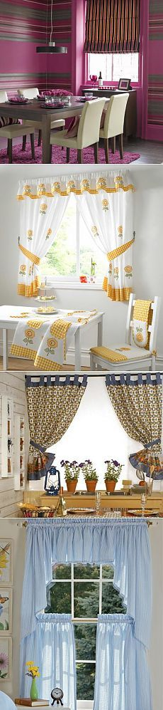 Patterns of curtains for the kitchen No Sew Curtains, Valance Curtains, Drapery, Window Treatments, Kitchen Design, Windows, Sewing, Interior, House