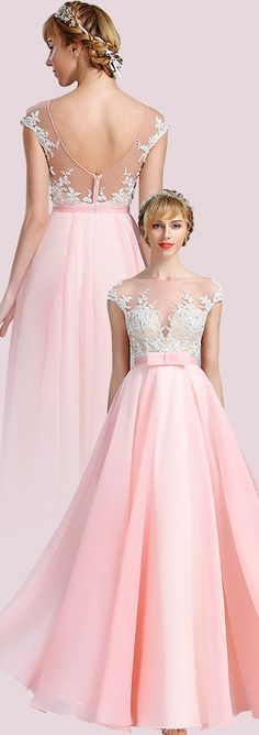 Cap Sleeves Pink Lace  Evening Gown Formal Dress