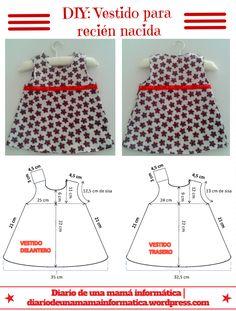 DIY: Vestido veraniego para recién nacida con cubre pañal a juego