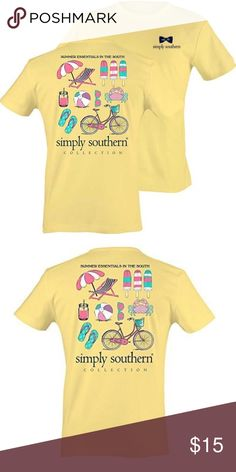 """Simply Southern preppy yellow tee shirt size large Simply Southern brand preppy tee shirt. Yellow with """"summer essentials in the south"""" design on the back. No cracking on the printed designs. Simply Southern Tops Tees - Short Sleeve"""