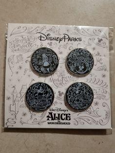 $11.95 - Disney Parks Alice In Wonderland 4-Pin Round Booster Pack Set #ebay #Collectibles