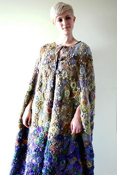 Freeform crochet & knit cape  created by Prudence Mapstone  www.knotjustknitting.com