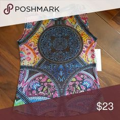 Mesh sublimation top Sleeves less mesh top sublimation Boho print cemi ceri Tops Camisoles