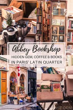 The Abbey Bookshop: History, Coffee & Paris' Other Anglophone Books The Abbey Bookshop, Latin Quarter, Paris, France: The other Anglophone bookstore of the arrondissement in the City of Love. Hidden gem filled with books and coffee! Paris Travel Guide, Travel Guides, Rome Travel, France 3, Paris France, Paris Roma, Versailles, Paris Latin Quarter, Coffee In Paris