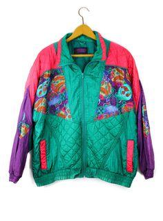 80's Retro Nylon Workout / Windbreaker Suit by LemonBright on Etsy