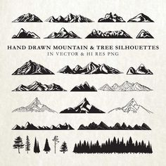 Hand Drawn Mountain Silhouette and Rustic Tree Nature Clipart Clip art PNG & Vector EPS, AI Design Element Instant Download  • Total 26 clip arts. 26 x 2 PNG images (26 in black and 26 in white) High Resolution (over 300dpi) LARGE size PNG with transparency of each clip art in approx. 10 inches at the longest side without watermark, background or text.  • All clip arts in 2 Vector Format files, each in .eps and .ai that you can edit in most image processing software (Adobe Photoshop, Ado...