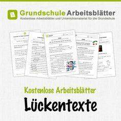 Kostenlose Arbeitsblätter und Unterrichtsmaterial für den Deutsch-Unterricht zum Thema Lückentexte in der Grundschule.