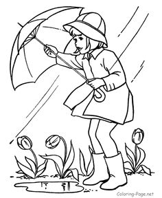 Spring coloring page - Spring rain