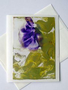 Original Encaustic Art Card 011 Abstract Floral by StudioSabine, $20.00