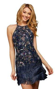Shimmer-trimmed halter-style dress with fringed skirt by Sherri Hill  Make it a light and breezy evening in this formal mini by Sherri Hill. Crystal accents edge the halter bodice and jewel neckline with shimmering glints while sculpting lines trace the bust, midriff and hips with a precision fit. Triple tiers of satiny fringe swing along the skirt from the hips to the mini hemline. Suit Fashion, Fashion Dresses, New Years Eve Dresses, Gathered Skirt, Sherri Hill, Red Carpet Dresses, New Dress, Designer Dresses, Nice Dresses