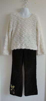 Size 6/6x Girls ~ White Fuzzy LS Sweater & Dk Brown Cord Pants w/Gold Hearts