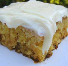 Pineapple Sheet Cake w Cream Cheese Frosting: a moist  rich old southern recipe.