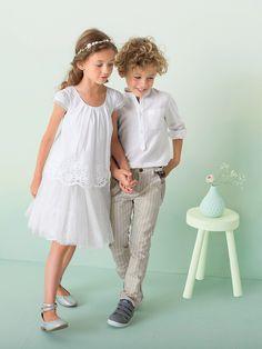 Vertbaudet Festliche Voile Bluse für Mädchen in weiß