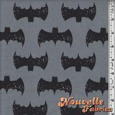 Cotton Lycra Bats on Gray