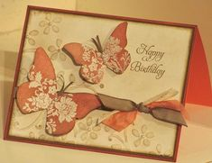 This card was a Stampin'Up! display sample at Leadership so I don't have all the details but what I can see is that it uses the Everyday Enchantment designer series paper, stamped with the Fresh Vintage stamp set (both FREE Sale A Bration choices).