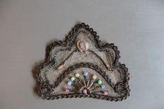 Tiny gold metallic woven braid form the outline of this lovely design. Hand sewn colorful glass beads and one pink silk chiffon rosette complete this design on net. Lovely handmade French Applique. | eBay!