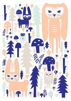 Dark Forest Art Print. Two to choose from van HelloPants op Etsy