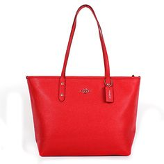 Coach Crossgrain Leather City Zip Tote - Bright Red