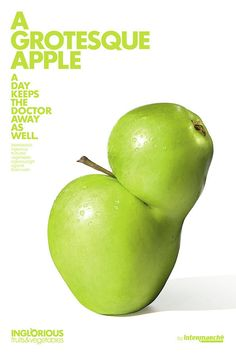 This ad campaign for French supermarket chain Intermarché, created by Marcel Paris, takes a stand against food waste. Presented in an almost generic advertising… Fruit And Veg, Fruits And Vegetables, Fresh Fruit, Funny Vegetables, French Supermarkets, Imperfect Produce, Communication, Poster Ads, Poster Text